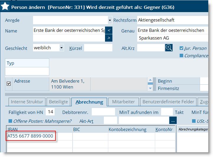 Bank Daten